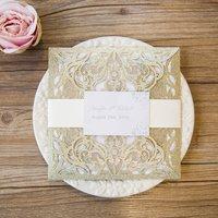 Pearl Square Laser Cut Gatefold Wedding Invitation