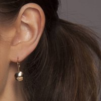 Gold Or Silver Hammered Dome Earrings, Silver