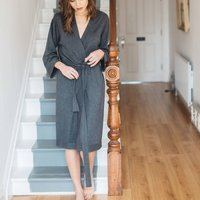 Luxe Knit Cashmere Silk Blend Robe, Grey