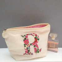 Liberty Print Personalised Applique Make Up/Wash Bag