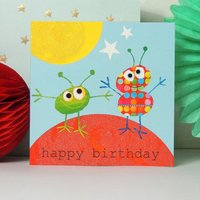 Happy Birthday Sparkly Aliens Card