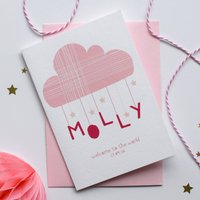 Personalised New Baby Card Pink, Pink