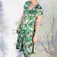 Empire Line Painterly Rose Print Dress
