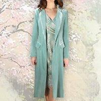 1940s Style Coat In Sumptuous Seafoam Silk Velvet