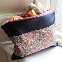 Liberty And Leather Evening Pouch, Grey/Blue/Liberty