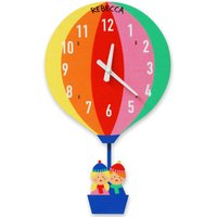 Personalised Rainbow Hot Air Balloon Clock