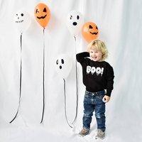 Boo! Childrens Halloween Sweatshirt Jumper, Black/White/Orange