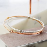 Rose Gold And Silver Orbit Diamond Bangle, Silver