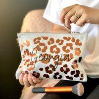Personalised Metallic Copper Leopard Print Make Up Bag
