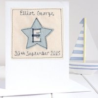 Personalised Initial Star Card, Blue