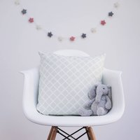 Trellis Cushion Cover And Feather Pad, Grey/Blush/Pink