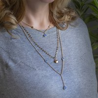 Long Triple Strand Gold Blue Chalcedony Necklace, Gold