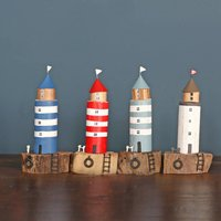 Lighthouse On Driftwood Block Decoration