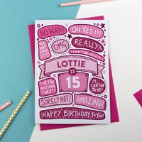 15th Omg Birthday Personalised Illustrated Card