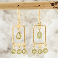 Green Peridot And Hammered Gold Rectangle Earrings, Gold