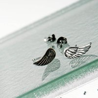 Angel Wing Sterling Silver Stud Earrings, Silver