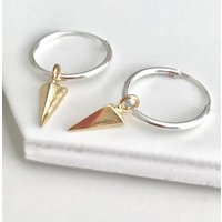 Sterling Silver And Gold Spike Earrings, Silver