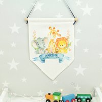 Personalised Jungle Baby Wall Hanging Flag