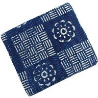 Indigo Blue Patchwork Kantha Quilt Single Bed