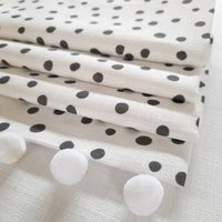 Black Dotty Roman Blind With Pom Pom Trim