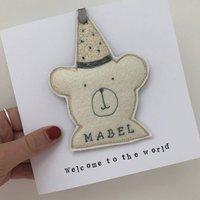 Teddy Felt Embroidered Keepsake Card
