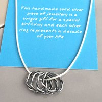 40th Birthday Handmade Silver Rings Necklace, Silver