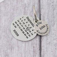 Personalised Anniversary Gift Round Calendar Keyring