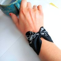 Leather Bow Wrist Cuff Bangle, Black/Yellow/Gold