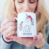 I Believe Unicorn Christmas Mug