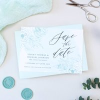 Mint Green Calligraphy Wedding Save The Date