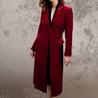 Vintage 1940s Style Red Velvet Party Coat