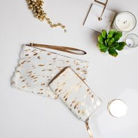 Cream And Gold Bridal Pony Hair Clutch And Purse Set