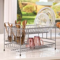 Industrial Grey Dish Drainer And Cutlery Rack