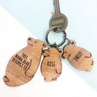 Personalised Bear Family Keyring Set