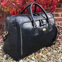 Luxury Black Leather Holdall, Travel Bag
