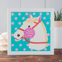 Personalised Horse Birthday Card Pink Version, Pink