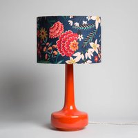 Bell Bottom Table Lamp With Carnation Floral Shade