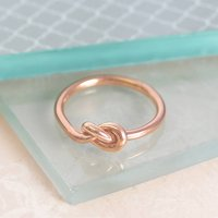 Rose Gold Friendship Knot Silver Ring, Silver