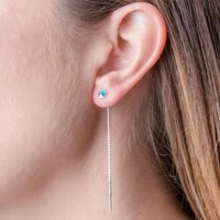 Silver And Gold Threader Earrings, Silver