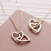 Personalised Solid Gold Interlocking Hearts Necklace, Gold