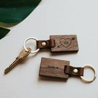 Personalised Wood Heart Keyring