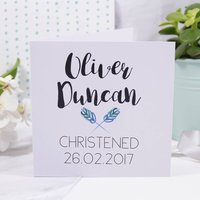 Personalised Simple Christening Card For Boys And Girls, Blue/Pink/Black