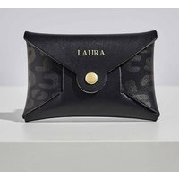 Personalised Black Leopard Leather Card + Coin Purse
