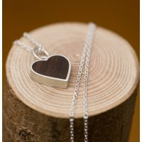 Heart Necklace Made Of Rose Wood And Set In Silver, Silver