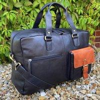 Black Soft Leather Travel Bag, Business Bag, Holdall