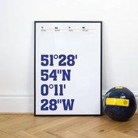 Chelsea Football Stadium Coordinates Posters