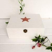Personalised Wooden Memory Or Keepsake Gift Box, Grey/Cream/Sage
