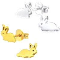 Sterling Silver Rabbit Earrings, Silver