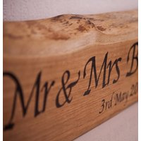 Personalised Solid Oak Mr And Mrs Wedding Sign