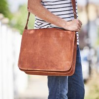 Leather Messenger Bag, Gold